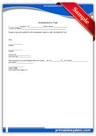 Trust Amendment Form Free Printable Amendment To Trust Form GENERIC 9