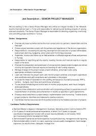 Project Manager Job Description Job Description Senior Project Manager Hwa Tunisia