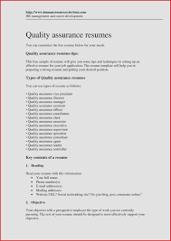 Resume Objective Quality Assurance Unique Quality Assurance Resume ...