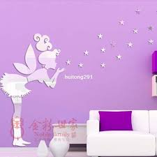 fairy with stars ps wall decal 1mm thickness 3d mirror stickers 35 stars home decor kids bedroom decoration sticker wall es sticker walls from
