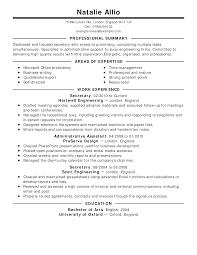 Secretary Resume Example Classic Full Resum Marvelous Templates Vs