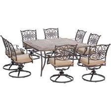 seasons 9 piece aluminum outdoor dining set with tan cushions 8 swivel chairs and square