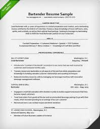 Bartending Resume Sample Www Sailafrica Org