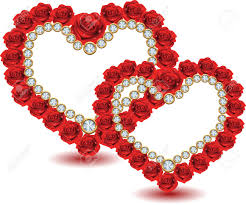Heart From Red Roses And Diamonds Royalty Free Cliparts Vectors