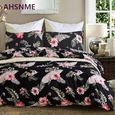 ahsnme many pink flowers in dark black bedding set american size suitable for king queen twin very soft quilt cover home textile wamsutta bedding bedspread