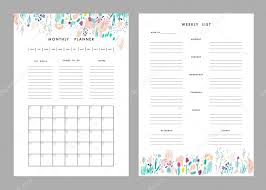 Monthly Planner Plus Weekly List Templates. — Vettoriali Stock ...