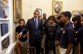 obama oval office decor. cracking the code mr obama shows a model of samuel morseu0027s telegraph to group oval office decor