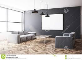 Light Gray Settee Gray Living Room Two Sofas Poster Stock Illustration