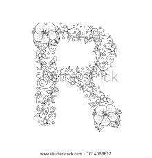 fl alphabet letter r coloring book for s vector ilration hand drawn doodle