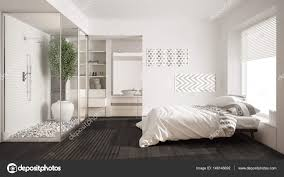 bedroom minimalist. Minimalist Bedroom And Bathroom With Shower Walk-in Closet, \u2014 Stock Photo