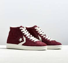 converse pro leather suede high top sneaker maroon retro basketball sneaker silhouette in nubby suede from