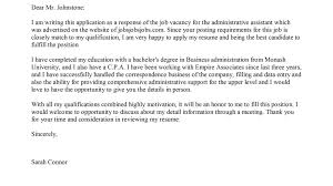 Cover Letter For Administrative Assistant Position Uk Admin Job