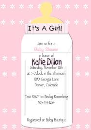 baby girl invite baby girl bottle baby shower invitation
