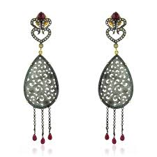 image is loading 38 5ct carved gemstone ruby diamond chandelier earrings
