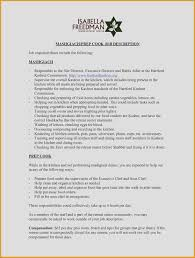 Cover Letter Sous Chef Cook Job Description For Resume Cook Resume Skills 19