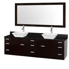 Encore 78 Inch Double Sink Vanity Black Granite Top