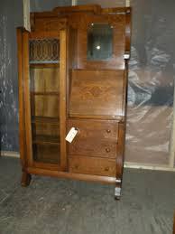antique oak drop front secretary desk side by side bookcase display cabinet beautiful my mom