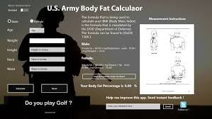 Army Body Mass Index Chart Army Body Fat Calculator Army