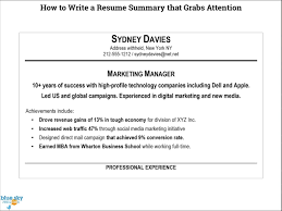 How To Write A Good Resume Summary What Do You Write In A Resume Summary Krida 19