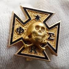 antique 14k yellow gold skull pendant broch 1920s