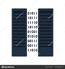 Data Rack Design Server Icon Two Servers Rack Binary Code Flat Color Design