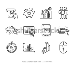 Set Technology Icons Such Search Car Stock Vector Royalty