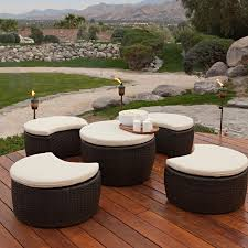 wooden deck design combine with ohana patio furniture plus green grass and stackable stone