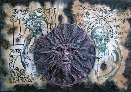 incantations scrolls ancient occult demon vine parchment incantation cthulhu necronomicon magic old book page magick darkarts
