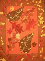 In Art class, 2nd graders created fall leaf collages. A collage is an  artwork made by cutting and gluing pieces together. To make the leaves in  their ...