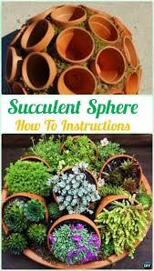 diy flower clay pot succulent sphere