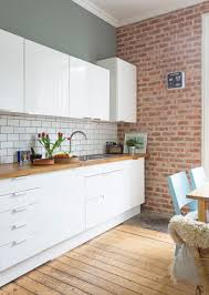 White gloss kitchen units by Ikea, Brick Slip Wall. Fired Earth ...