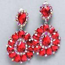 red chandelier earrings red ab crystal chandelier rhinestone bridal drag queen pageant earring pr red stone red chandelier earrings