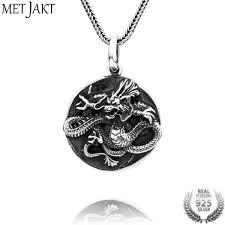 metjakt handmade 925 sterling silver dragon pendant necklace vintage tai chi gossip pendant for men s punk jewelry