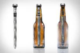 a tool that goes into a beer bottle to keep it cold
