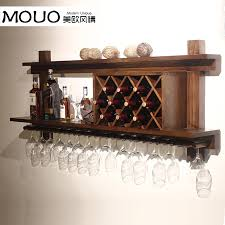 Wall mounted wood wine rack wine rack wine cooler European modern bar glass rack  hanging bar to order-in Cabinet Hinges from Home Improvement on ...