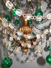 french sea foam green crystal wood chandelier circa 1930 for 2