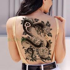 водонепроницаемый временные татуировки наклейки Koi Lotus мужские татуировки спины