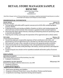 Retail Manager Resume Examples Resume Templates