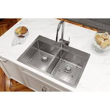 Elkay Crosstown 22 Double Bowl Sink Kit 1 Faucet Holes Polished