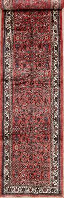 vintage red geometric hamedan persian runner rugs 4x17