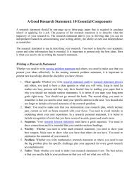 Research Problem Statement Research Statement Research Statement 10 Ingredients To Success