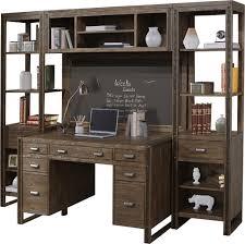 rustic home office furniture. Brooklyn Industrial Rustic Home Office 5pc Wall Desk Set In Dark Distressed Pine Furniture E