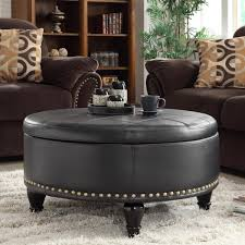 round grey with tufted and nailhead leather storage ottoman for modern living room decor the best your idea coffee table black furniture large long