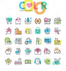 Procedure For Design And Development Flat Line Icons Set Of Shopping Retail Store Order And