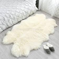 sheepskin area rug ivory white four pelt quatro 4x6 ft