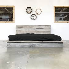 Rustic Modern Platform Bed Frame and Headboard - Boho Loft Style - Solid Wood Handmade in USA - The Woodland