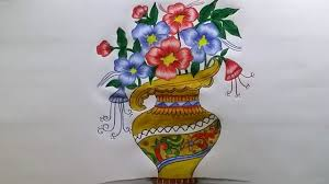 How To Draw A Vase With Designs How To Draw Flower Vase With Drawing Technique Step By Step