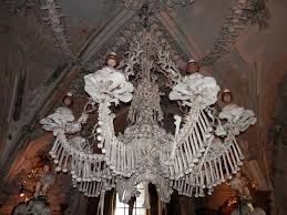this huge working chandelier is made up of every bone in the human
