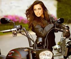 biker girl motorcycle girl playmate raquel pomplun on a victotry motorcycle wearing black leather jacket