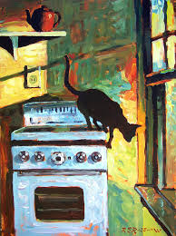 kitchen paintingsBlack Cat In The Kitchen Painting by Roelof Rossouw